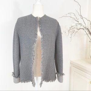 Lafayette 148 Wool Cashmere Fringe Edge Jacket 8